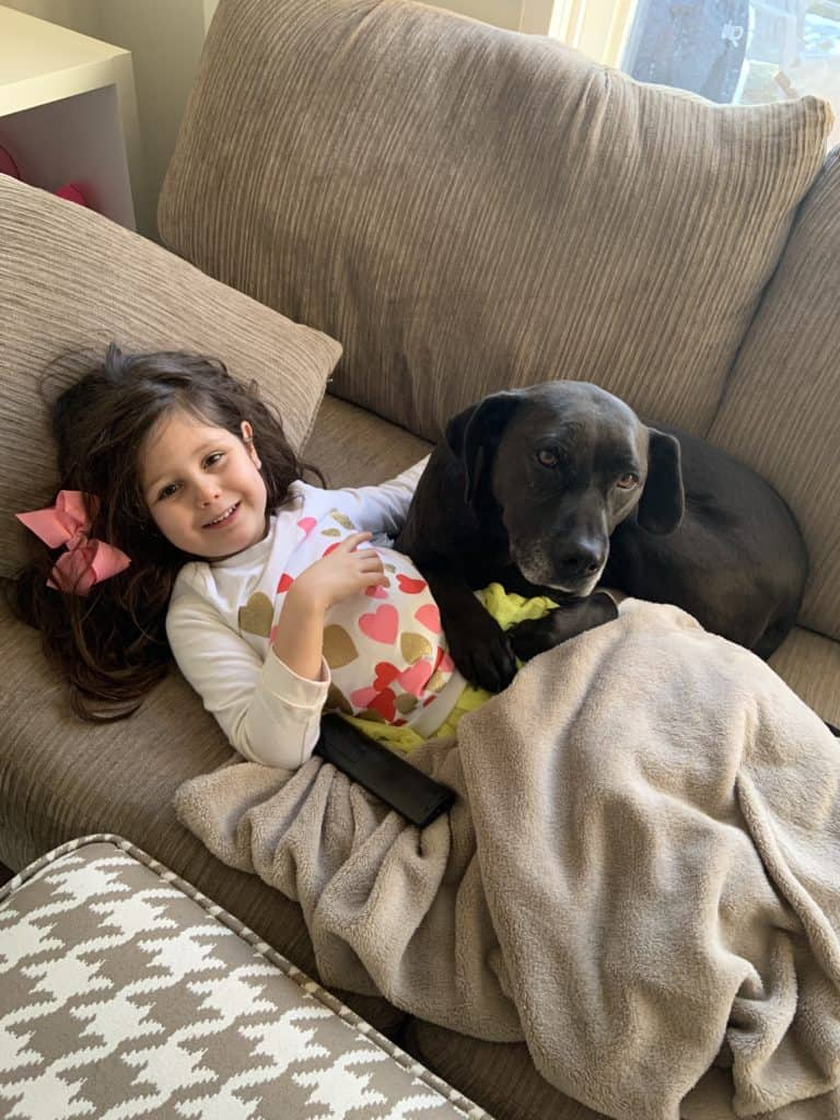 Don't Panic Stay Home Little Girl On The Couch With A Dog